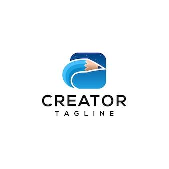 Modelo de logotipo de ícone de lápis