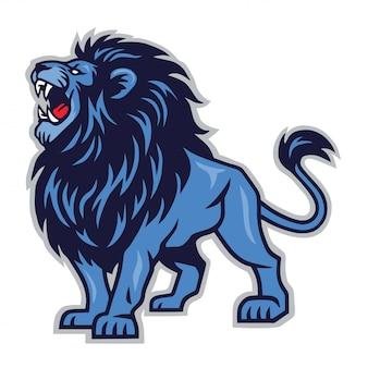 Modelo de logotipo de ícone de mascote de leão rugindo