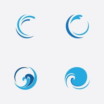 Modelo de logotipo de ícone de onda de água