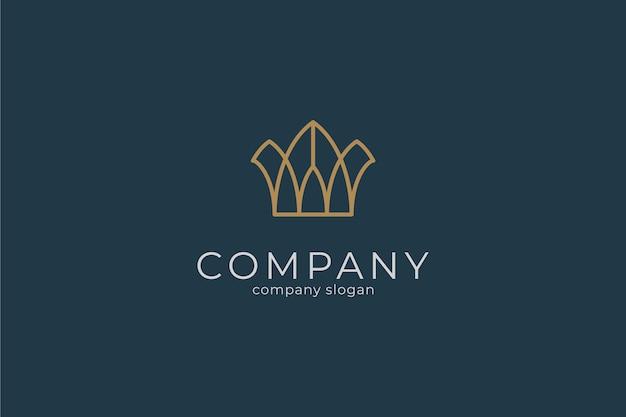 Modelo de logotipo de ícone de vetor de coroa simples e moderno e elegante