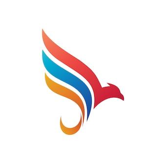 Modelo de logotipo de ilustração abstrata de pássaro e asa