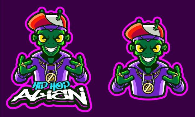 Modelo de logotipo de ilustração aliene hip hop