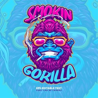 Modelo de logotipo de ilustração de gorila