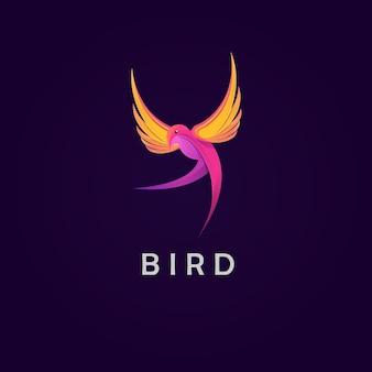 Modelo de logotipo de ilustração de pássaro colorido