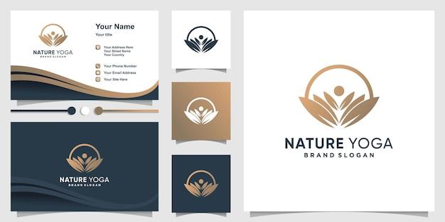 Modelo de logotipo de ioga de natureza com cartão de visita