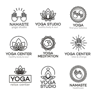 Modelo de logotipo de ioga definido para seu centro de ioga, estúdio de ioga, aula de meditação.