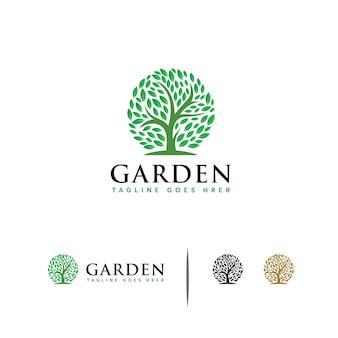 Modelo de logotipo de jardim verde