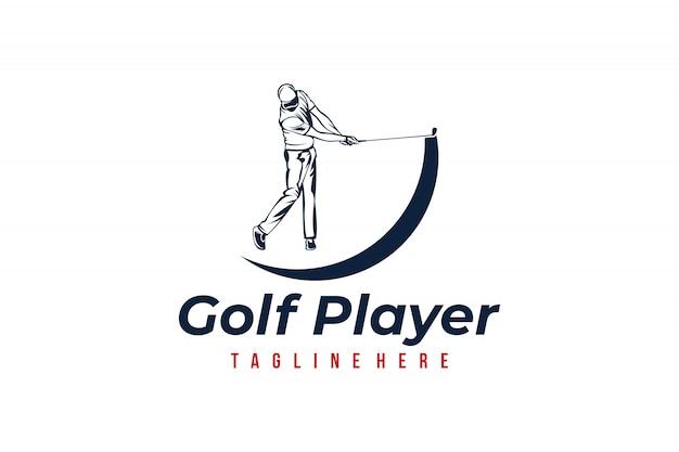 Modelo de logotipo de jogador de golfe