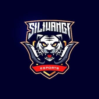 Modelo de logotipo de jogo de mascote esportivo de tigre