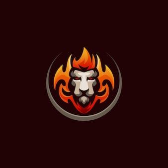 Modelo de logotipo de jogo lion fire