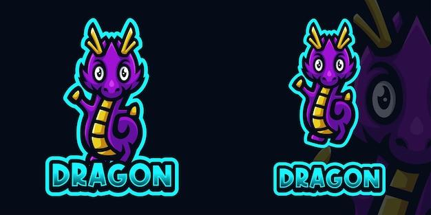 Modelo de logotipo de jogo roxo bebê dragão mascote para esports streamer facebook youtube