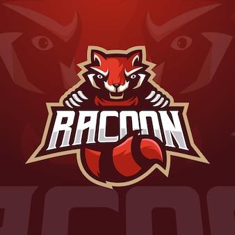 Modelo de logotipo de jogos raccoon eesports com ilustração moderna