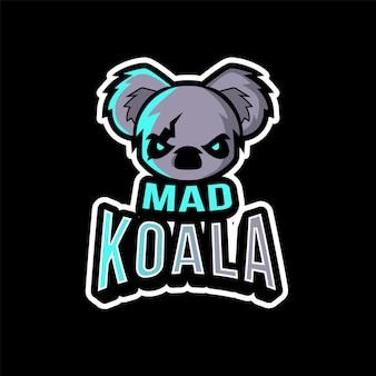 Modelo de logotipo de koala esport louco