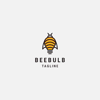 Modelo de logotipo de lâmpada bee