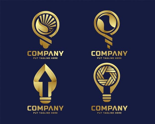 Modelo de logotipo de lâmpada premium de luxo