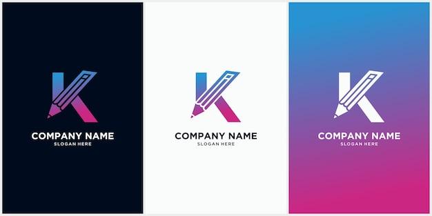 Modelo de logotipo de lápis inicial da letra k