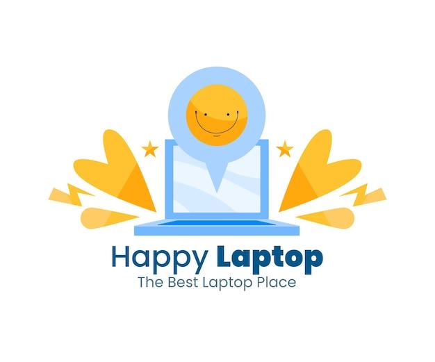 Modelo de logotipo de laptop de design plano criativo
