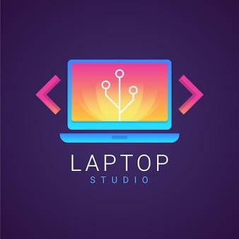 Modelo de logotipo de laptop gradiente