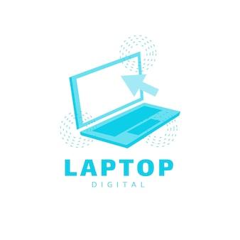 Modelo de logotipo de laptop plano criativo