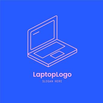 Modelo de logotipo de laptop plano linear criativo