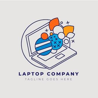 Modelo de logotipo de laptop plano linear