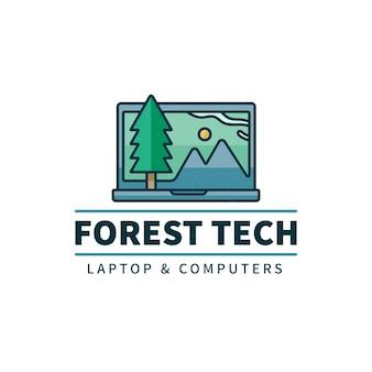 Modelo de logotipo de laptop plano