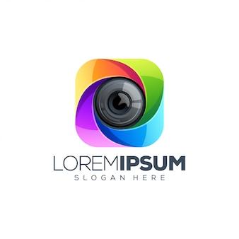 Modelo de logotipo de lente