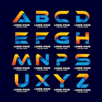 Modelo de logotipo de letra de alfabeto em gradientes de estilo. cor azul, amarela e laranja