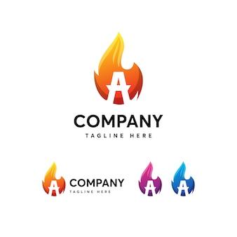 Modelo de logotipo de letra de fogo de chamas