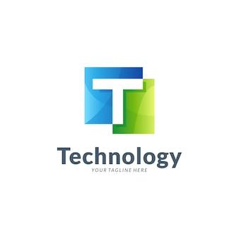 Modelo de logotipo de letra t simples