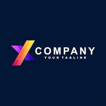 Modelo de logotipo de letra x gradiente