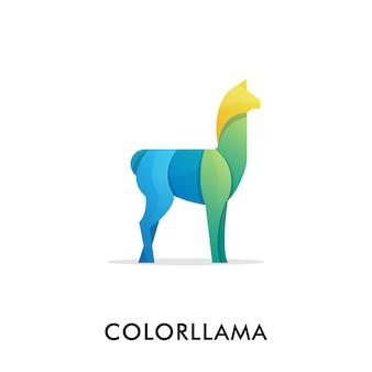 Modelo de logotipo de lhama de ilustração colorida.