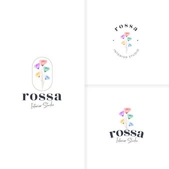 Modelo de logotipo de linda flor colorida desenhada à mão