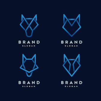 Modelo de logotipo de linha abstrata de lobo