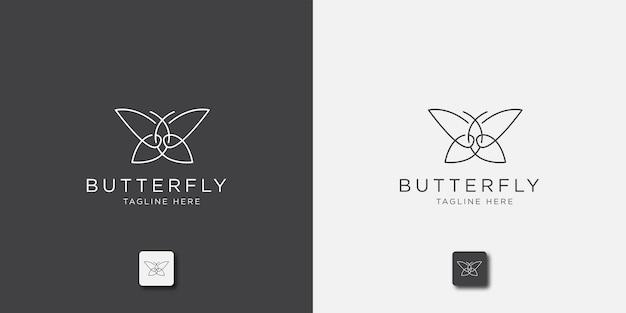 Modelo de logotipo de linha borboleta