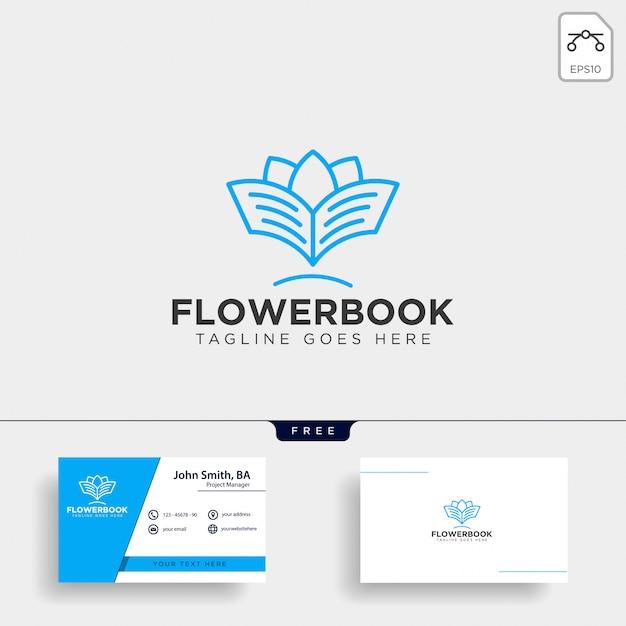 Modelo de logotipo de linha de educação de árvore, planta e flor livro