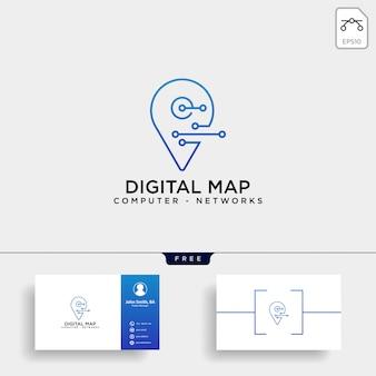Modelo de logotipo de linha de mapa digital pin