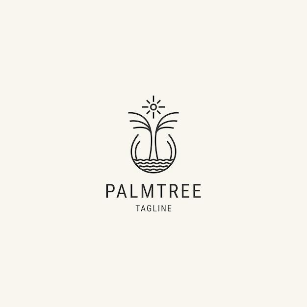 Modelo de logotipo de linha de palmeira