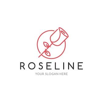 Modelo de logotipo de linha rosa