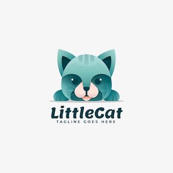Modelo de logotipo de little cat gradient colorful style