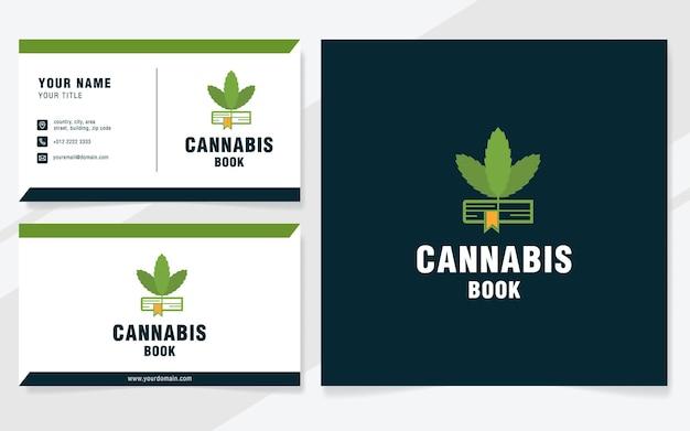 Modelo de logotipo de livro de cannabis em estilo moderno