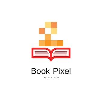 Modelo de logotipo de livro de pixel