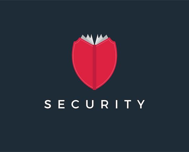 Modelo de logotipo de livro de segurança mínima