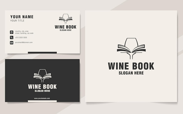 Modelo de logotipo de livro de vinhos em estilo monograma