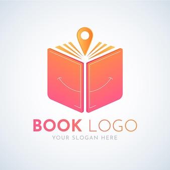 Modelo de logotipo de livro gradiente com slogan