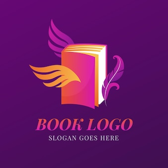 Modelo de logotipo de livro gradiente criativo