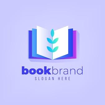 Modelo de logotipo de livro gradiente