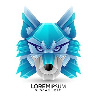 Modelo de logotipo de lobo de origami