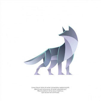 Modelo de logotipo de lobo gradiente