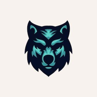 Modelo de logotipo de lobo